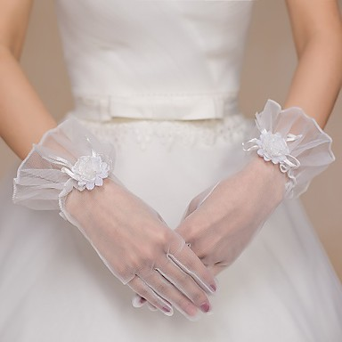 Net / Tulle Wrist Length Glove Bridal Gloves / Party / Evening Gloves With Rhinestone / Bowknot