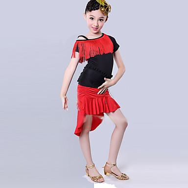 Latin dance outfits çocuk eğitimi polyester kıyafeti dans kostümleri