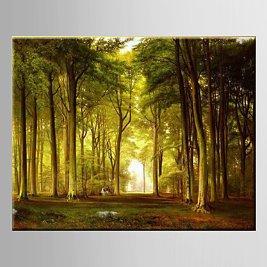 Oil Painting Pastoral Scenery Forest Woodland Hand Painted Canvas with Stretched Framed