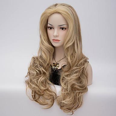 Femme Perruque Synthétique Sans bonnet Mi Longue Ondulation profonde Blonde Perruque Déguisement