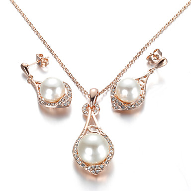 Women's Jewelry Set Pearl Crystal Imitation Pearl Cubic Zirconia Alloy Simple Style Wedding Party Daily Casual Earrings Necklaces Costume