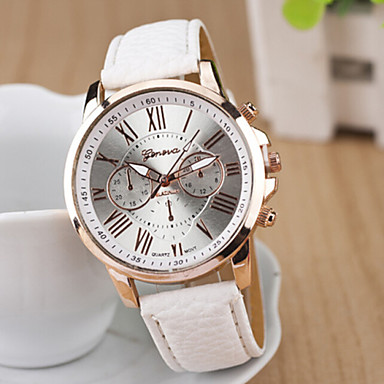 Geneva Damen Quartz Armbanduhr Armbanduhren für den Alltag PU Band Freizeit / Elegant / Modisch Weiß / Blau / Rosa / Lila / Gelb / Beige