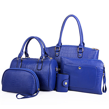 Women Bags All Seasons PU Shoulder Bag Tote Clutch Coin Purse Bag Set for Shopping Casual Formal Office & Career Black Red Blue