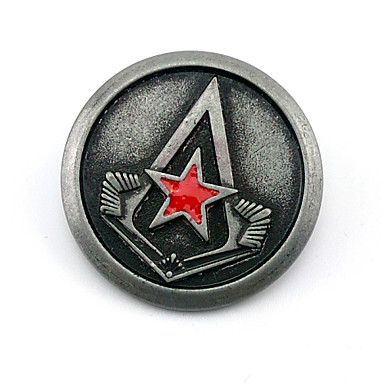 Jewelry Inspired by Assassin's Creed Connor Anime/ Video Games Cosplay Accessories Badge / Brooch Black Alloy Male
