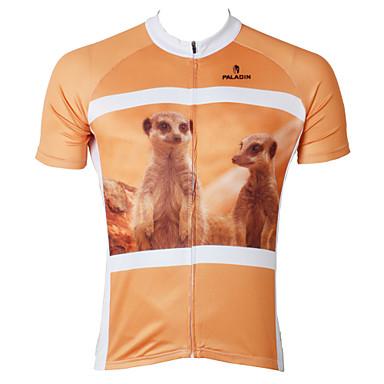 ILPALADINO 남성용 짧은 소매 싸이클 져지 - 오렌지 동물 자전거 져지, 빠른 드라이, 자외선 방지 폴리에스테르