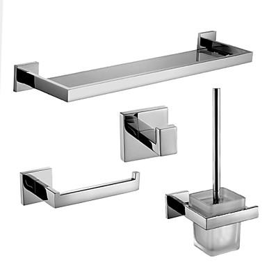 Tilbehørssett til badeværelset Toalettrullholder Krok Hylle til badeværelset Toalettbørsteholder Moderne Rustfritt Stål 30cm 62cm