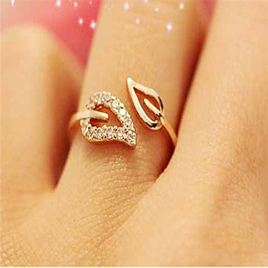 edc4d79399 Women's Open Cuff Ring Adjustable Ring thumb ring Cubic Zirconia Rhinestone  Gold Plated Leaf Cheap Ladies Simple Basic Fashion Bling Bling Ring Jewelry  Gold ...