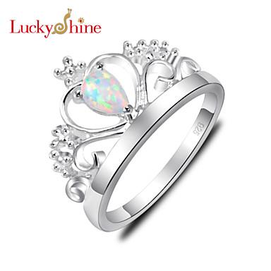 Жен. Заявление Кристалл Синтетические драгоценные камни Серебристый В форме короны Камни по месяцу рождения Бижутерия