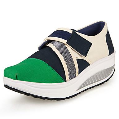 Kiilakorko Platform-Naisten-Canvas-Sininen Vihreä Punainen-Toimisto Rento-Platform Crib Shoes