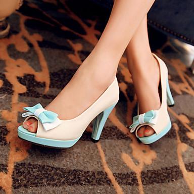 샌달 / 펌프스/힐 - 야외 / 드레스 / 캐쥬얼 - 여성의 신발 - 힐 / 토오픈 / 플랫폼 - 레더렛 - 청키 굽 - 블루 / 옐로 / 핑크 / 화이트