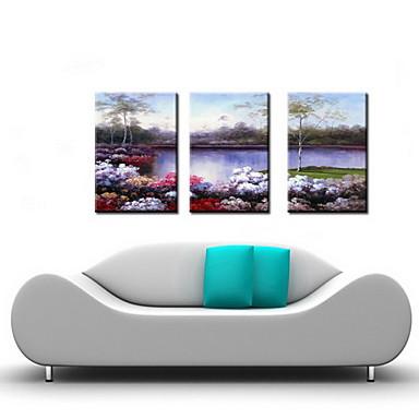 3 seti - gergin çerçeveli ile yağlıboya dekorasyon soyut manzara el boyalı tuval