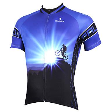 edd0d0ef5b12 ILPALADINO Ανδρικά Κοντομάνικο Φανέλα ποδηλασίας - Μπλε Ποδήλατο Αθλητική  μπλούζα Μπολύζες Αναπνέει Γρήγορο Στέγνωμα Υπεριώδης Αντίσταση