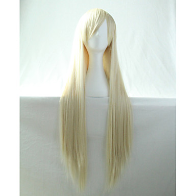 Cos Anime Bright Colored Wig Cream Long  Straight  Hair Wig 80 cm