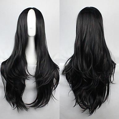 Syntetiske parykker Bølget Asymmetrisk frisyre Syntetisk hår Naturlig hårlinje Svart Parykk Dame Lang Cosplay-parykk / Kostyme Parykk