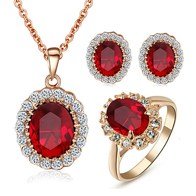 Women's Crystal / Synthetic Diamond Jewelry Set - Crystal, Cubic Zirconia, Imitation Diamond Birthstones Include Red For Wedding / Party / Daily / Rings / Earrings / Necklace