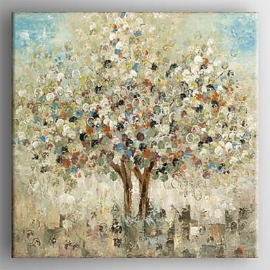 Maalattu Abstraktit maisemakuvat Neliö,Moderni 1 paneeli Hang-Painted öljymaalaus For Kodinsisustus