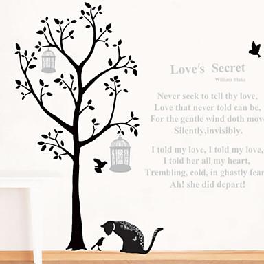 настенные наклейки наклейки для стен, кот под наклейкой дерево стены