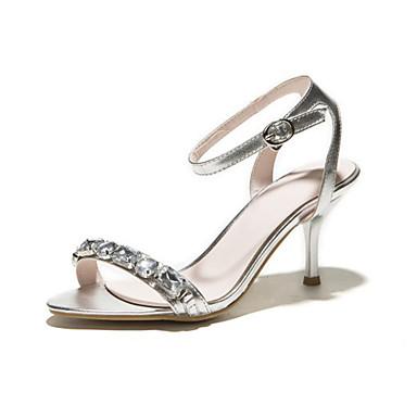 Розовый / Серебристый / Бежевый - Женская обувь - Для праздника - Дерматин - На шпильке - С открытым носком - Сандалии