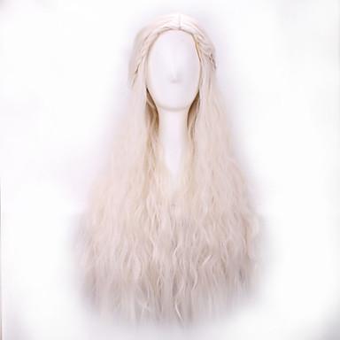 Парики из искусственных волос Волнистый Искусственные волосы Прямой пробор / Парик с косичками Белый Парик Жен. Длинные Парик для