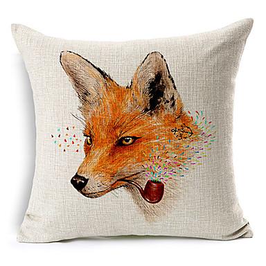 sarjakuva tupakointi Fox puuvilla / pellava koriste tyyny