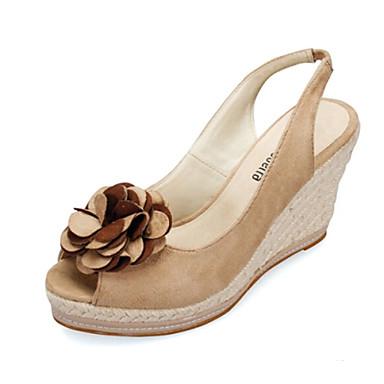 d04a93093f Calçados Femininos Tecido Anabela Anabela Modelos Sandálias Casual Bege