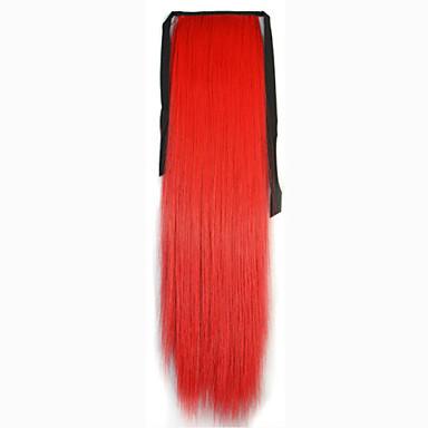 Rot Synthetik Pferdeschwanz Gerade Micro Ring Hair Extensions Pferdeschwanz 22inch Gramm Medium (90g-120g) Menge