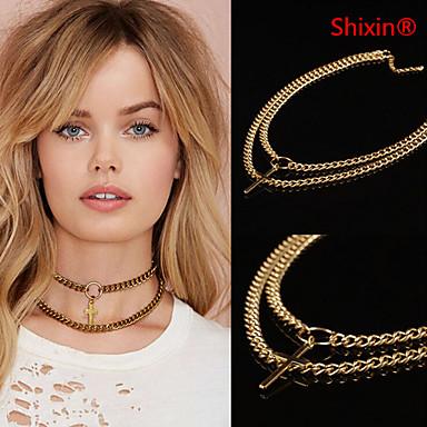 Damskie Naszyjniki z wisiorkami Cross Shape Stop minimalistyczny styl Podwójna warstwa Europejski Golden Biżuteria NaImpreza Codzienny