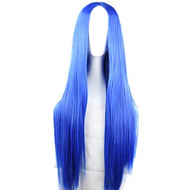 Synteettiset peruukit / Pilailuperuukit Suora Epäsymmetrinen leikkaus Synteettiset hiukset Luonnollinen hiusviiva Sininen Peruukki Naisten