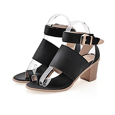 Mujer Zapatos PU Primavera verano Tira en el Tobillo Sandalias Media plataforma Lentejuela / Hebilla Negro / Plateado JundU863m