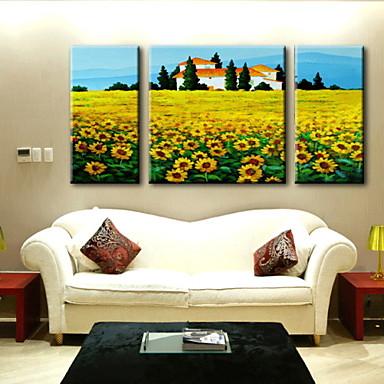 obraz olejny dekoracji abstrakcyjny krajobraz ręcznie malowane płótno rozciągnięte obramowane - zestaw 3