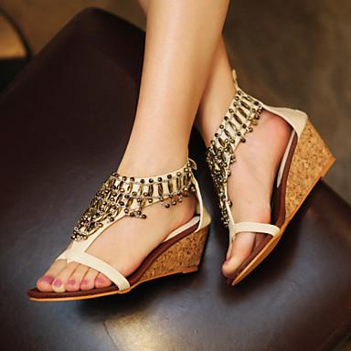 Feminino Sapatos Courino Primavera Verão Outono Anabela Para Casual Social Preto Amêndoa