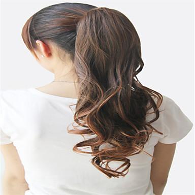 Κουμπωτό Κυματομορφή Σώματος Κομμάτι μαλλιών Hair Extension 18 Ίντσες Καφέ