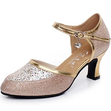 Damen Schuhe für modern Dance Paillette Sandalen Draussen Schnalle Kubanischer Absatz Keine Maßfertigung möglich Tanzschuhe Silber / Gold