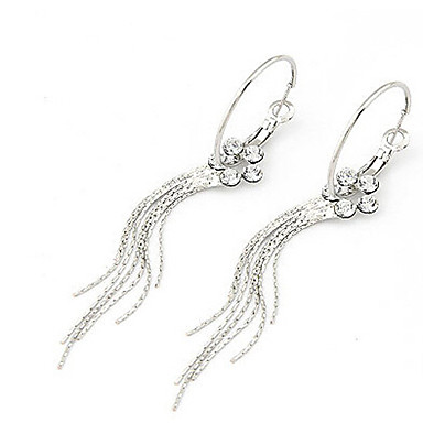 Drop Earrings Simulated Diamond Alloy Fashion Silver Jewelry 2pcs