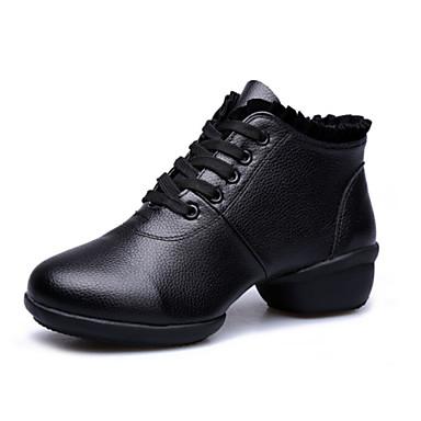 Női Tánccipők Bőr Sportcipő Kétrészes talp Szabadtéri Varrott csipke Fűzős Alacsony Fekete Piros 4,5 cm Szabványos méret