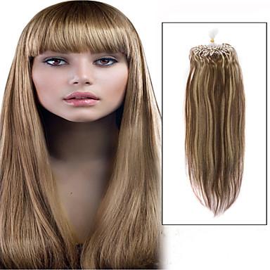 voordelige Extensions van echt haar-Microring haarextension Extensions van echt haar Recht Echt haar Blonde