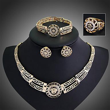 Damen Kubikzirkonia / Österreichisches Kristall Schmuck-Set Armband / Ohrringe / Halsketten - Retro / Party / Büro Schmuck Gold