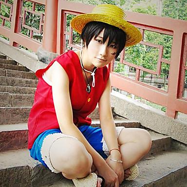Inspireret af En del Monkey D. Luffy Anime Cosplay Kostumer Cosplay Kostumer Patchwork Uden ærmer 背心 Shorts Til Herre