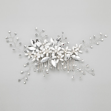 Imitation Pearl Rhinestone Alloy Hair Combs Headpiece Elegant Style