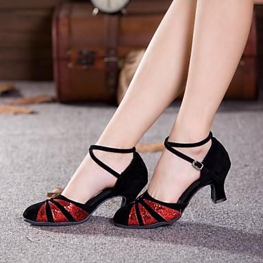 Damen Schuhe für modern Dance Paillette / Wildleder Absätze Paillette / Schnalle Kubanischer Absatz Keine Maßfertigung möglich Tanzschuhe Schwarz und Rot / Schwarz-Splitter / Schwarz-und Gold