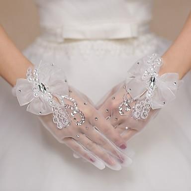Spitze Tüll Handgelenk-Länge Handschuh Brauthandschuhe Party / Abendhandschuhe With Strass Schleife Paillette
