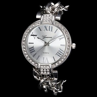 Damen Quartz Armbanduhr Armband-Uhr Imitation Diamant Legierung Band Glanz Elegant Modisch Silber Gold Rotgold