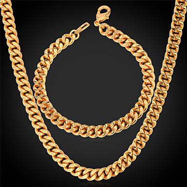 Κοσμήματα Κολιέ / Βραχιόλι Σετ Κοσμημάτων Γάμου / Πάρτι / Καθημερινά / Causal / Αθλητικά Κράμα / Επιχρυσωμένο 1set Άντρες ΧρυσαφίΔώρα