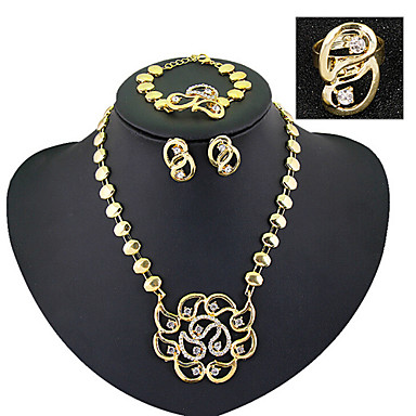 Conjunto de Jóias Personalizada Vintage Festa Trabalho Corrente Bijuterias Destaque Fashion Europeu Zircônia Cubica Chapeado Dourado