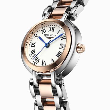 GUANQIN Mulheres Relógio de Moda Quartzo Calendário Impermeável Aço Inoxidável Banda Luxuoso Prata Ouro Rose Branco/Prateado Ouro Rose