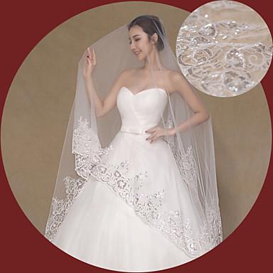 Свадебные вуали Один слой Фата для венчания Кружевная кромка Тюль Кружево Цвет слоновой кости