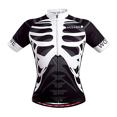 WOSAWE Men's Short Sleeve Cycling Jersey - White Skull Bike Jersey, Quick Dry, Breathable, Sweat-wicking