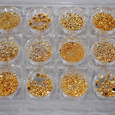 12 Grids Per Set Rectangle Storage Box Nail Alloy Golden Metal Different Shape Cute Moon Star New Design