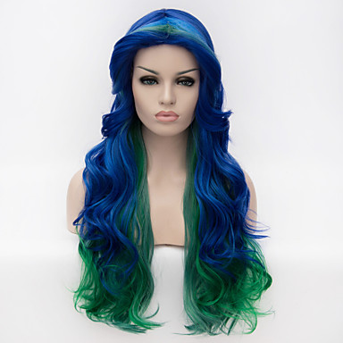 Synthetische Haare Perücken Große Wellen Gefärbte Haarspitzen (Ombré Hair) Kappenlos Cosplay Perücke Lang Blau