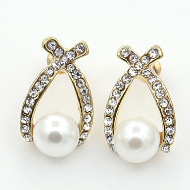 AWY Women Earring , Vintage/Cute/Casual Alloy/Cubic Zirconia/Rose Gold Plated/Rhinestone/Crystal/Imitation Pearl